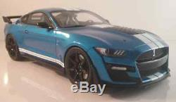 2020 Ford Shelby GT500 in Blue w. White Stripes 118 Scale by GT Spirit GT268