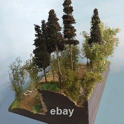 Diorama Forest with waterfall, lake, forest, mountain road, scale 132 to 1160
