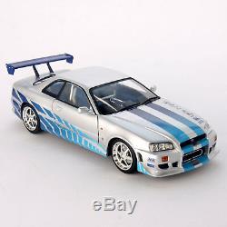 Fast & Furious Brian's 1999 Nissan Skyline GT-R R34 118 Scale Diecast Car Model