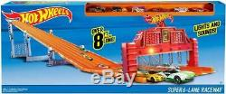 Hot Wheels Super 6-Lane Raceway Set Includes Six Hot Wheels 164 Scale Cars Race