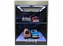 Large Display Case with LED Lights and Turntable in Silver 118 scale by Triple