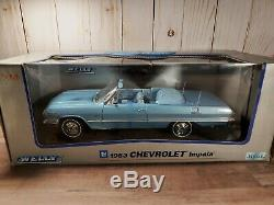 Welly 1963 Chevy Impala Convertible 118 Scale Diecast Model Car Blue